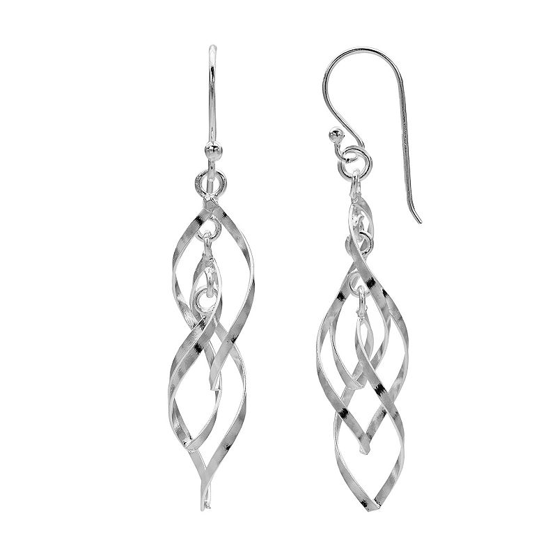 PRIMROSE Sterling Silver Twist Teardrop Earrings