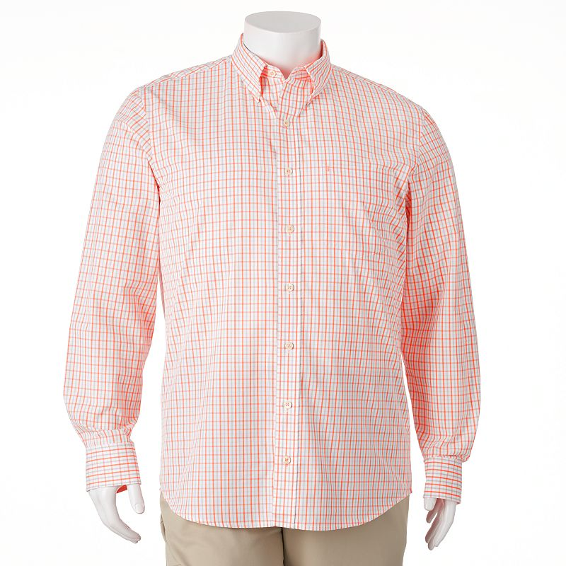 Big & Tall IZOD Classic-Fit Plaid Woven Casual Button-Down Shirt