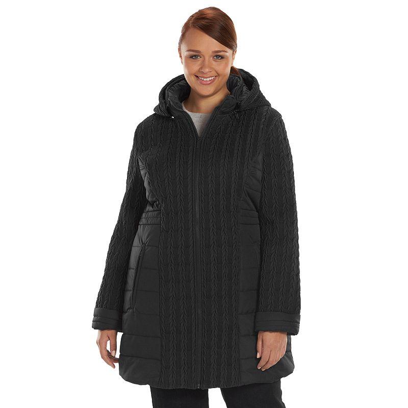 Plus Size Totes Mini Chevron Hooded Puffer Jacket