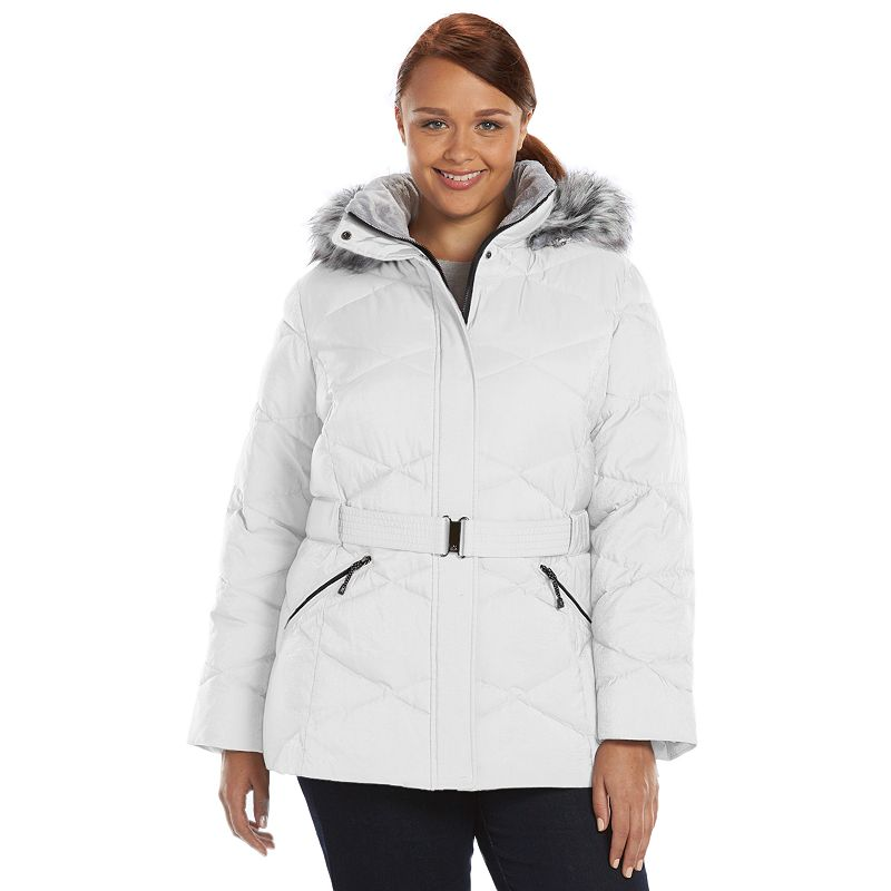 Plus Size ZeroXposur Chloe Belted Shimmer Quilted Puffer Jacket