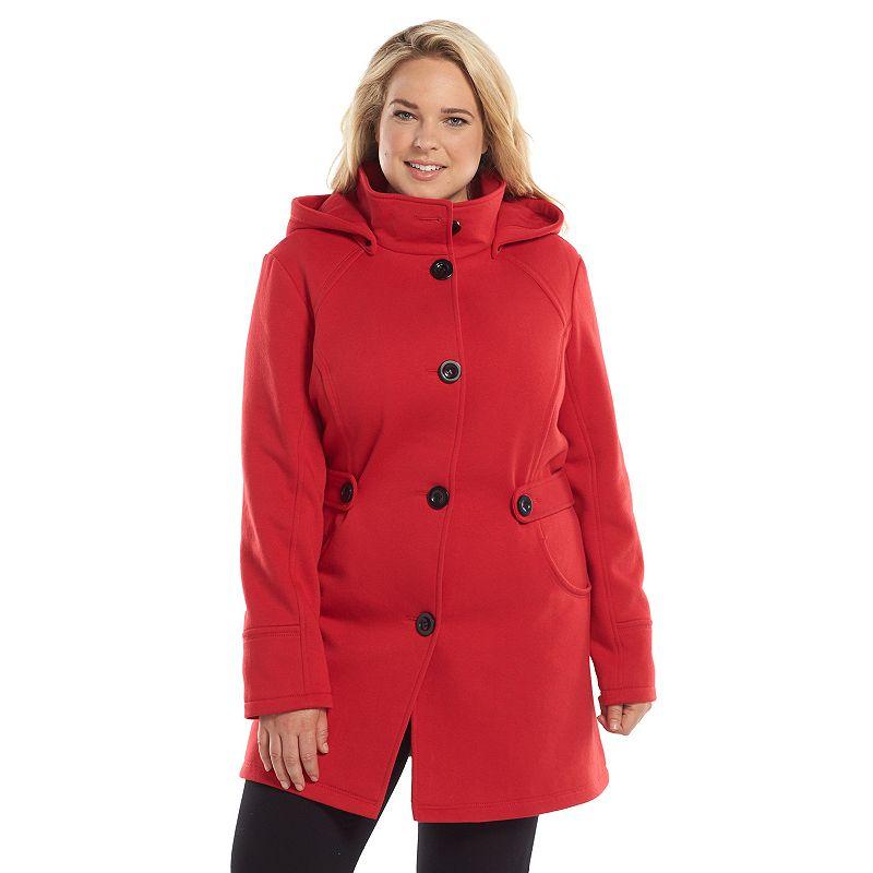 Plus Size Apt. 9® Hooded Side Tab Fleece Coat