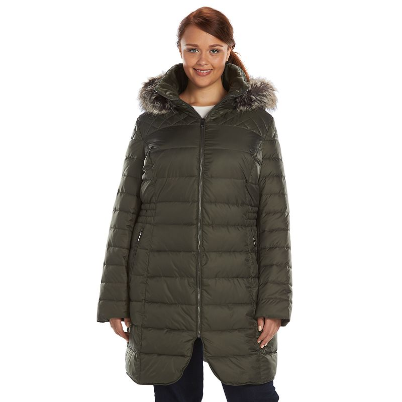 Plus Size Apt. 9® Curved Hem Hooded Puffer Jacket
