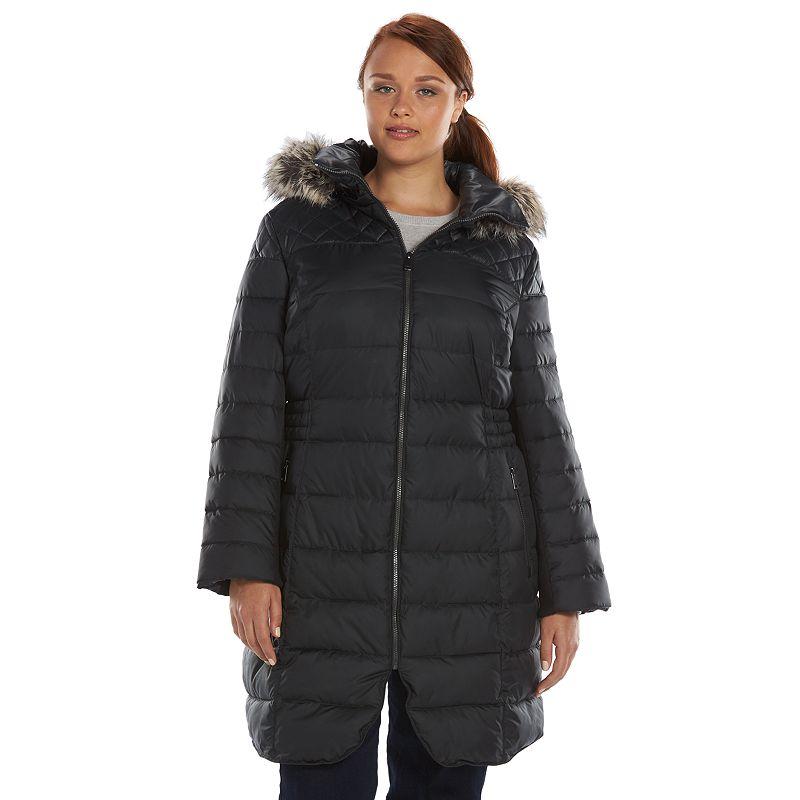 Plus Size Apt. 9® Curved Hem Hooded Puffer Jacket