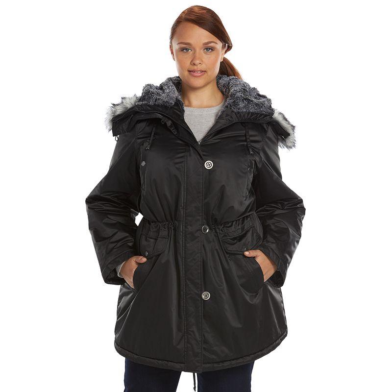 Plus Size Apt. 9® Shiny Hooded Anorak Parka