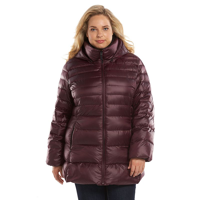 Plus Size AM Studio by Andrew Marc Hooded Down Puffer Jacket