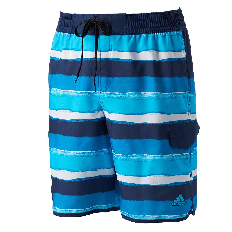 Big & Tall adidas Water-Stripe Volley Swim Trunks