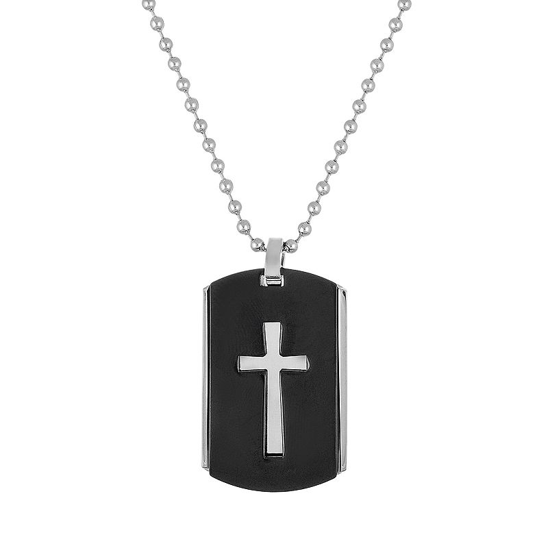 1913 Men's Two Tone Stainless Steel Cross Dog Tag Necklace