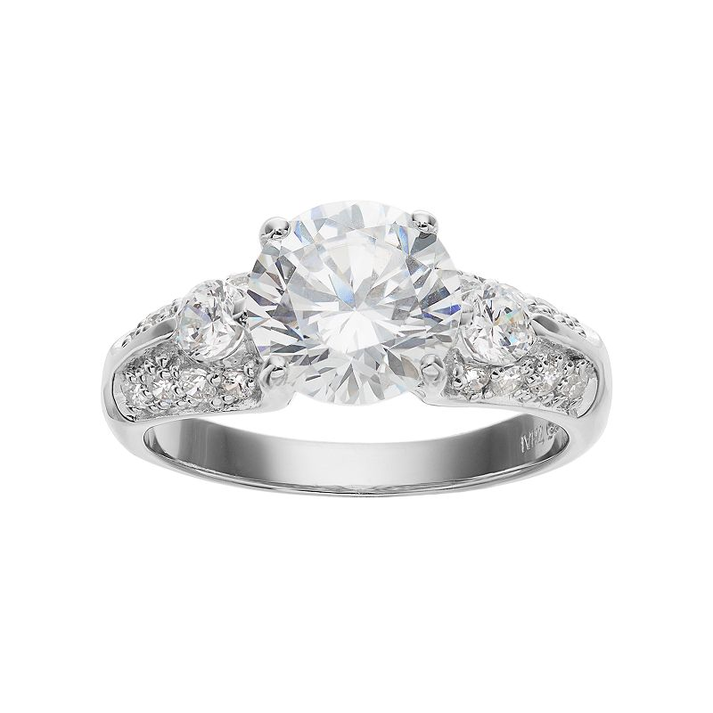 Sophie MillerSterling Silver Cubic Zirconia 3-Stone Ring