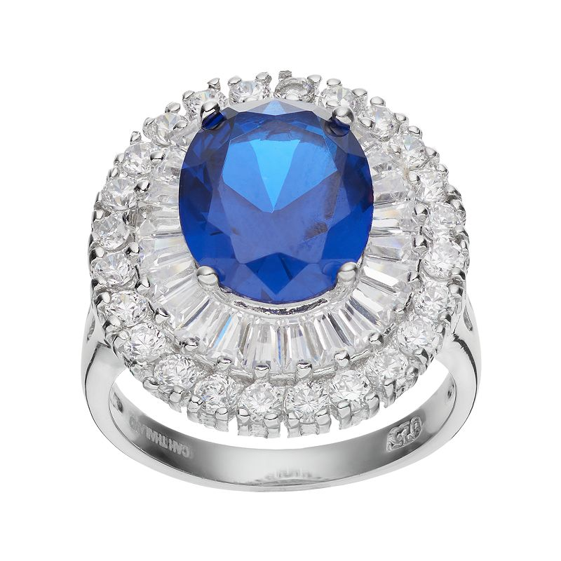 Sophie Miller Sterling Silver Lab-Created Blue Spinel & Cubic Zirconia Ballerina Ring