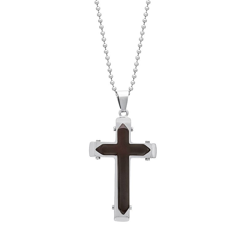 1913 Men's Two Tone Stainless Steel Cross Pendant Necklace