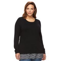 Plus Size Croft & Barrow® Mock-Layer Crewneck Sweater