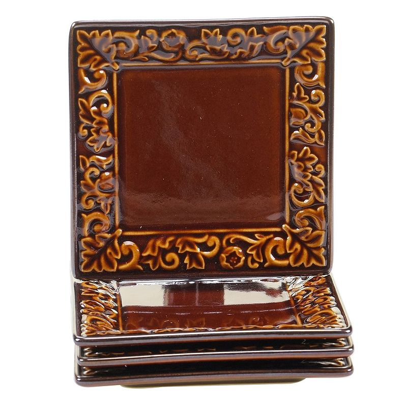 Certified International Solstice Brown 4-pc. Square Canape Plate Set