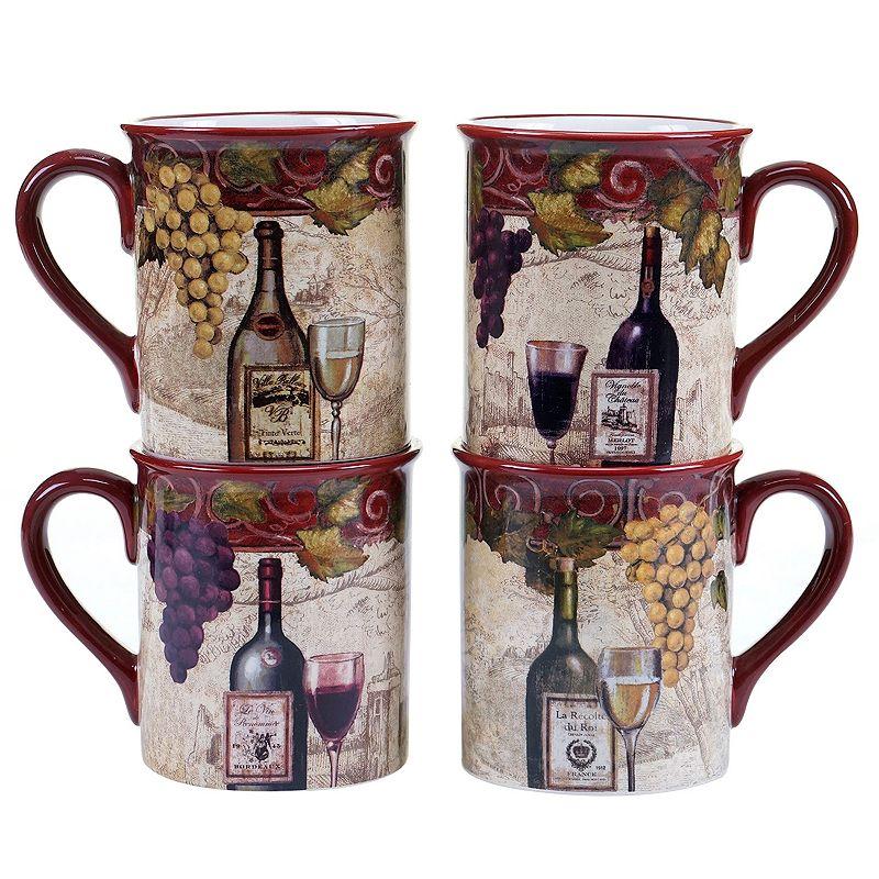 Certified International Wine Tasting 4-pc. Coffee Mug Set