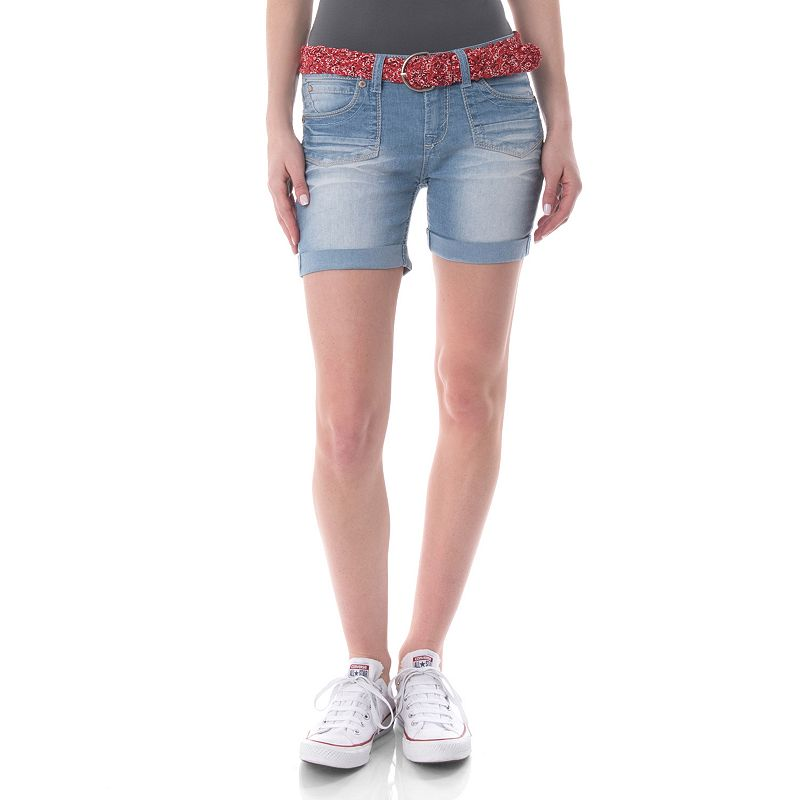 Juniors' Wallflower Sewn Rolled Midi Shorts