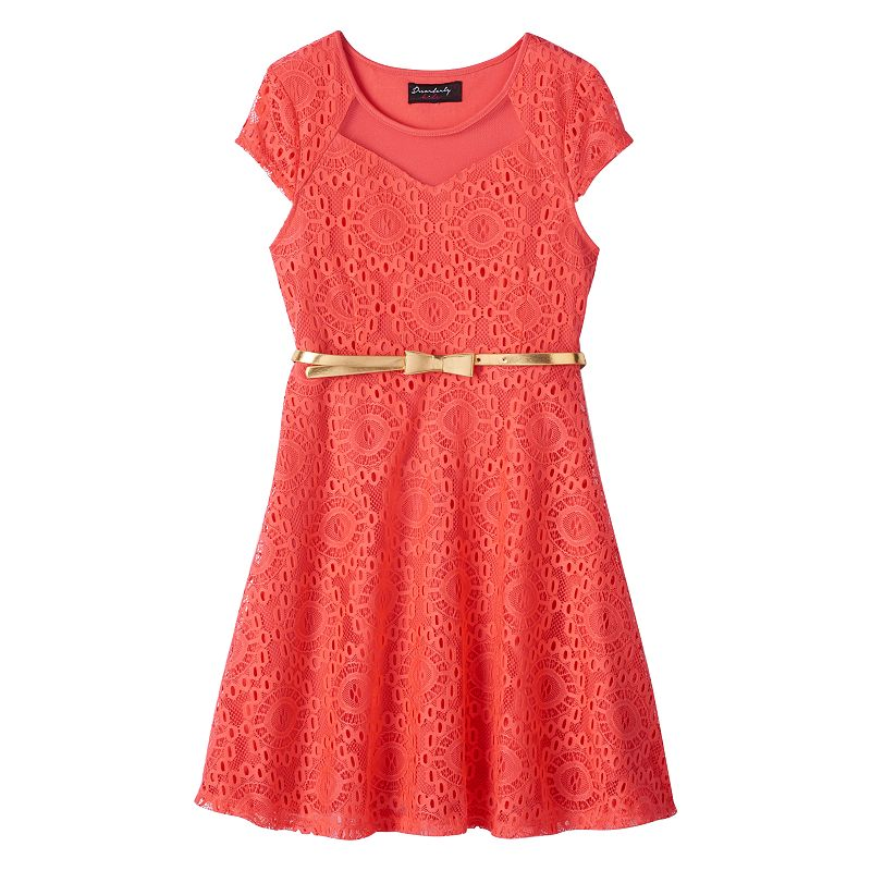 Girls 7-16 Disorderly Kids Belted Lace Skater Dress