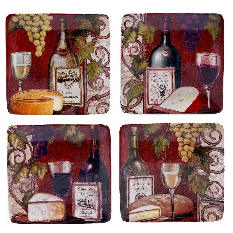 Certified International Wine Tasting 4-pc. Canape Plate Set