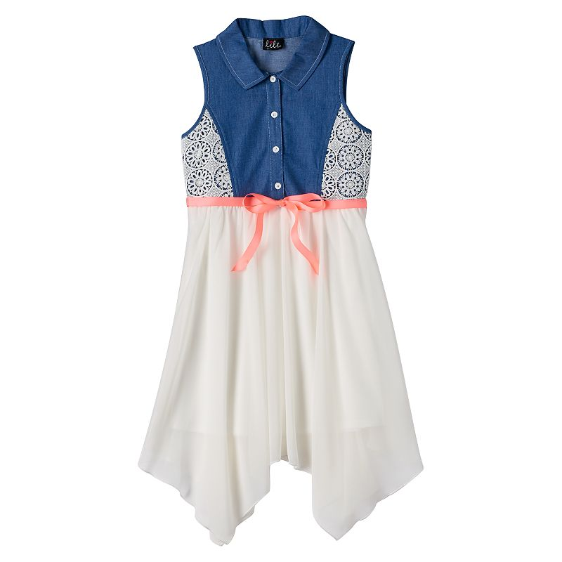 Girls 7-16 lilt Crochet Denim Shirt Dress