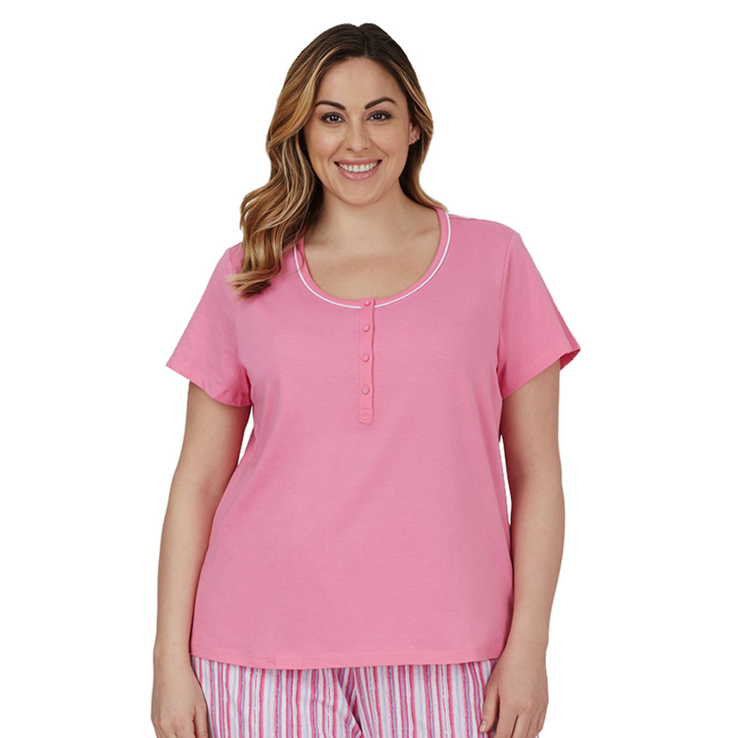 Plus Size Jockey Pajamas: Solid Henley Pajama Top