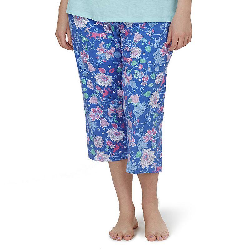 Plus Size Jockey Pajamas: Floral Printed Sleep Capris