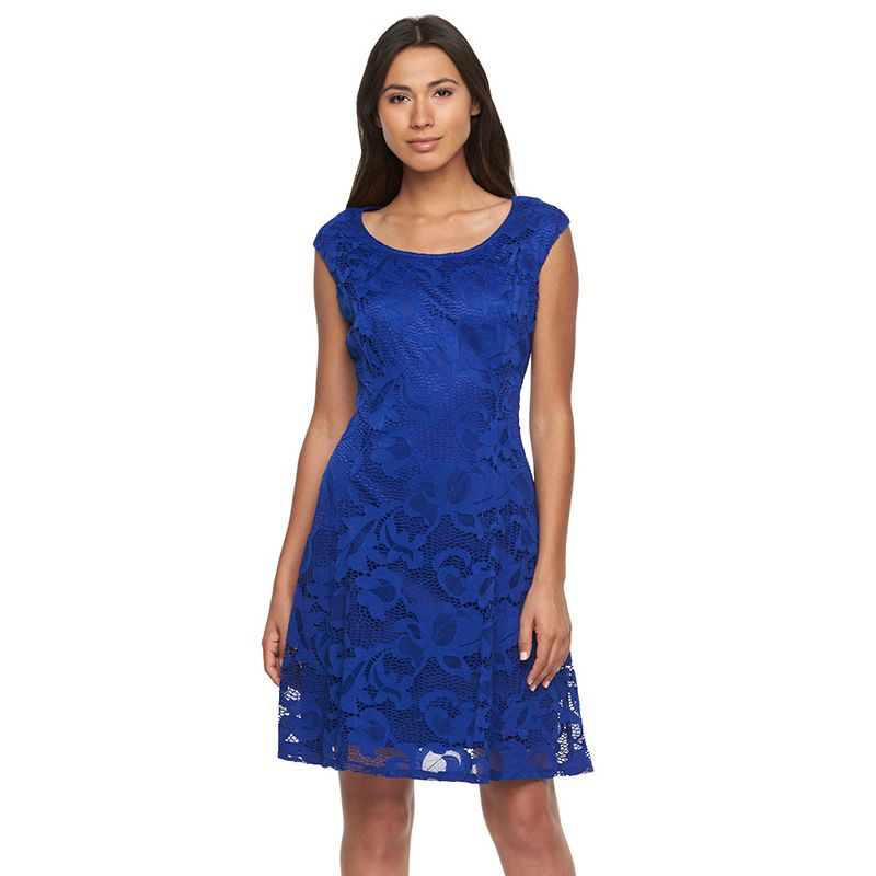 Women's Ronni Nicole Embroidered Lace Fit & Flare Dress