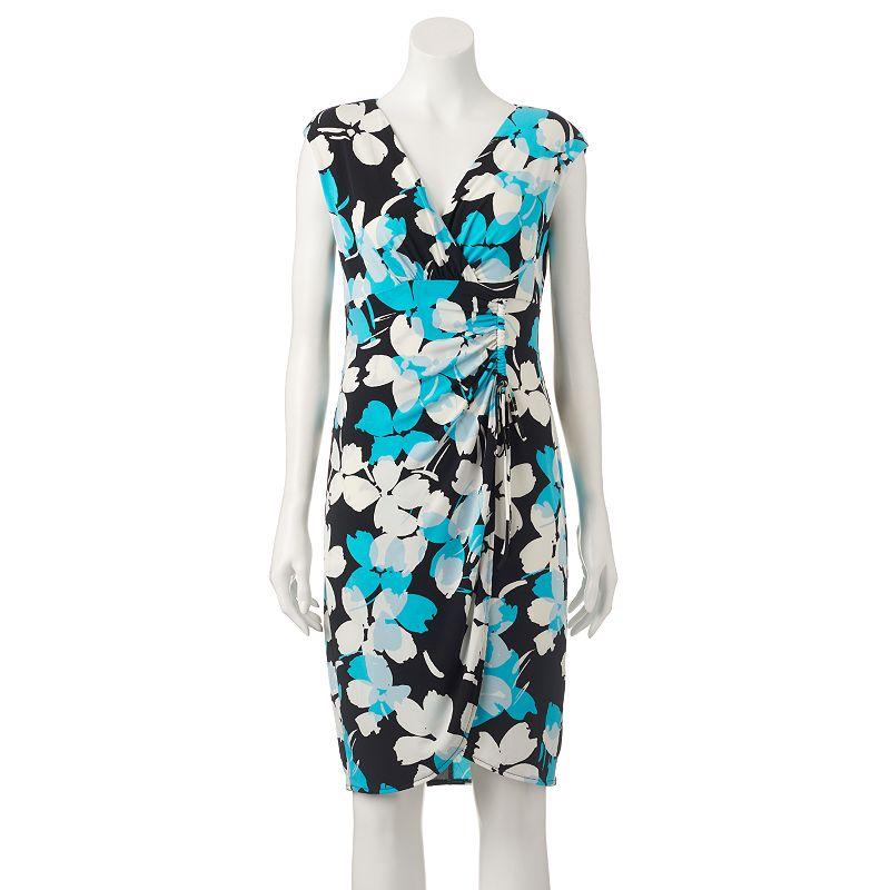 Women's Suite 7 Print Faux-Wrap Dress