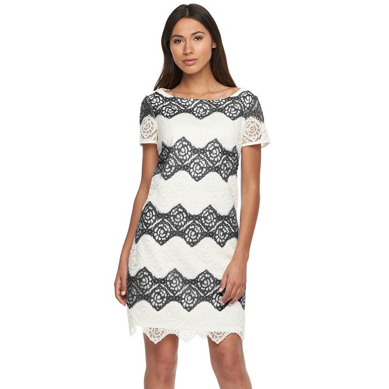 Women's Suite 7 Striped Lace Shift Dress