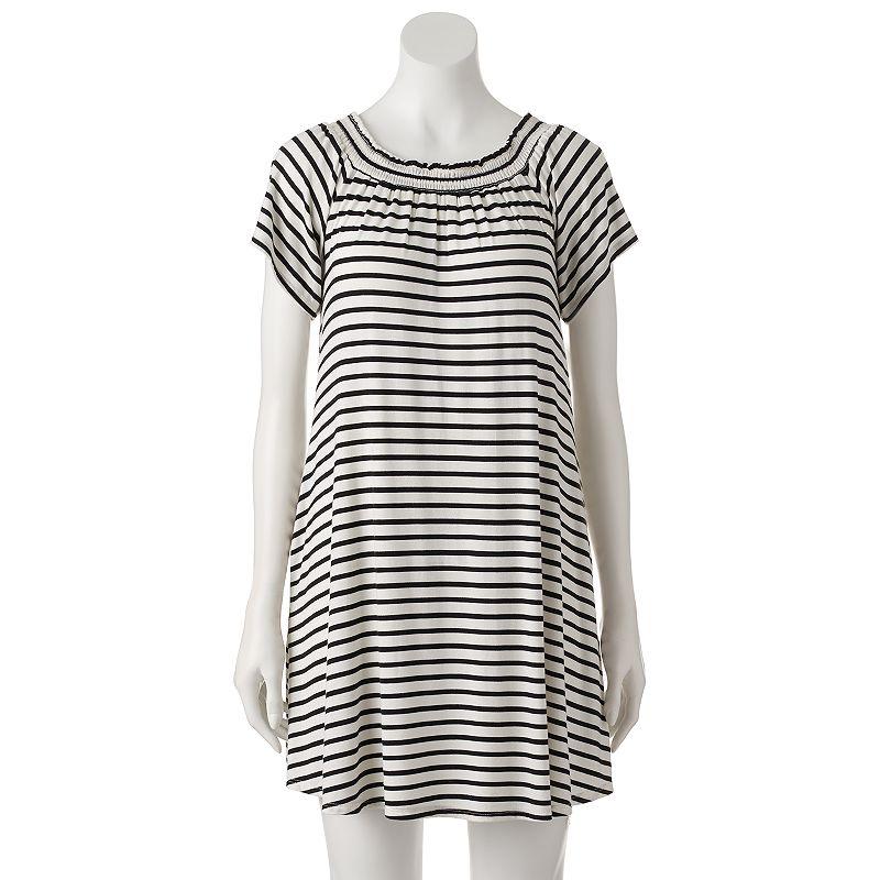 Juniors' First Blush Smocked Striped Dress