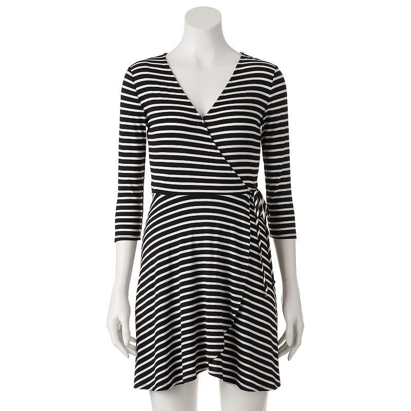 Juniors' First Blush Striped Faux-Wrap Dress