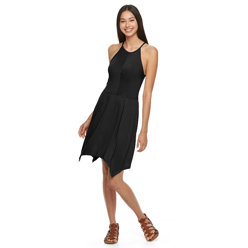 Juniors' Fire LA Handkerchief-Hem Halter Dress