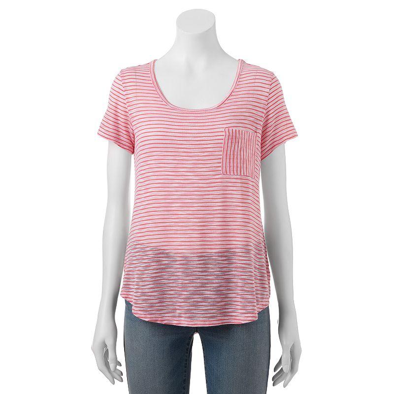 Juniors' Wallflower Hatchi Striped Pocket T-Shirt