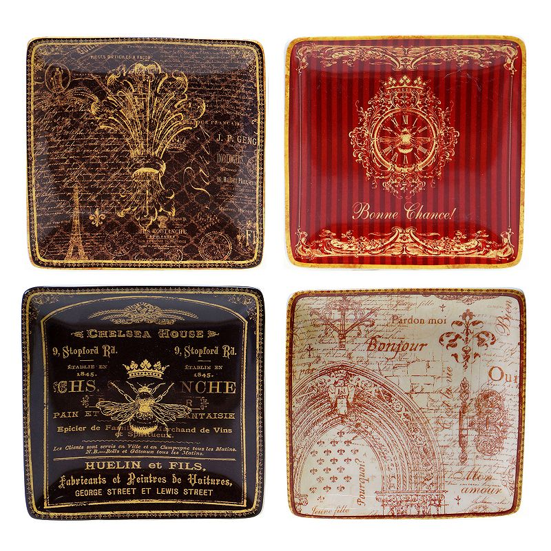 Certified International French Country 4-pc. Square Canape Plate Set