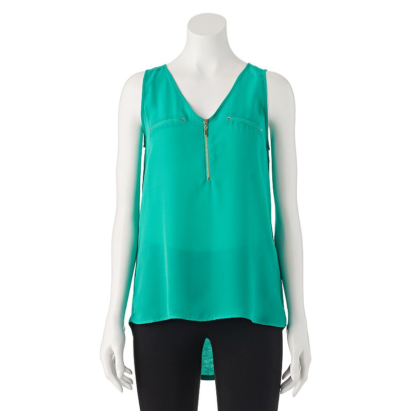 Juniors' My Michelle Mixed-Media High-Low Sleeveless Top