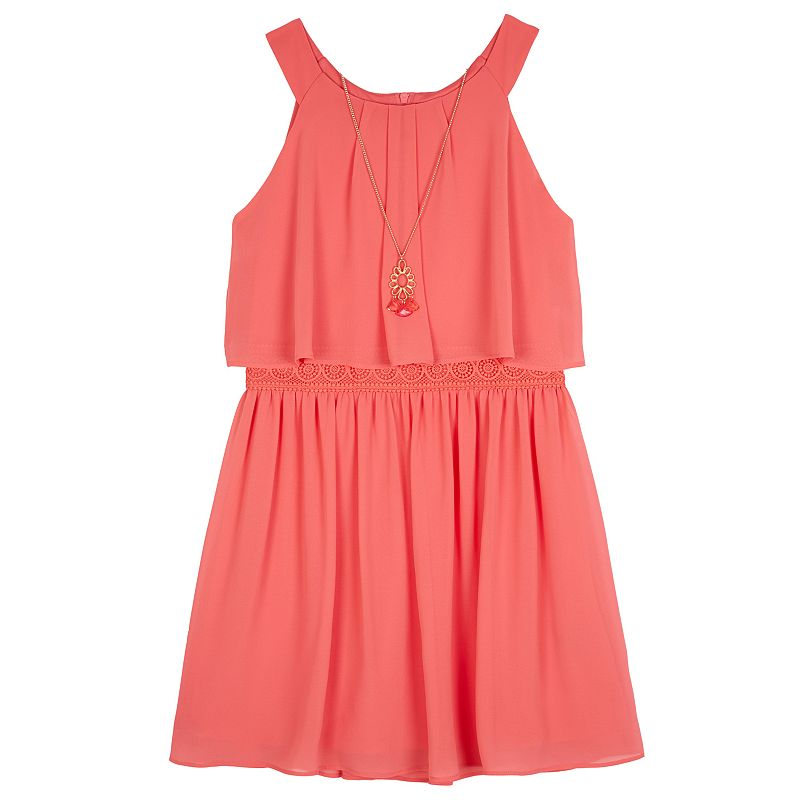 Girls 7-16 IZ Amy Byer Crochet Dress & Necklace Set