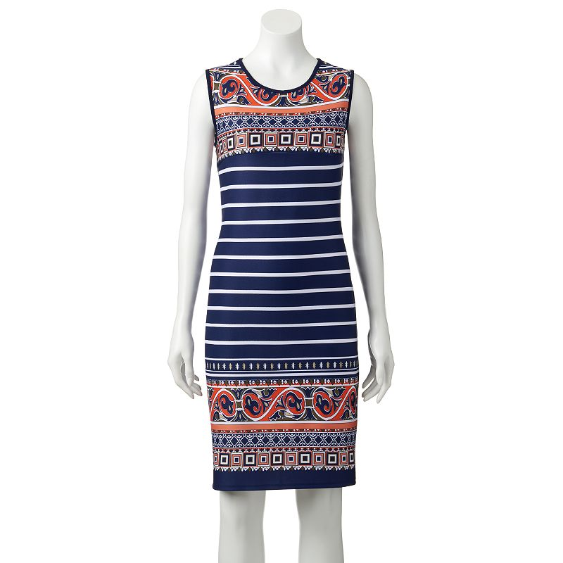 Women's Tiana B Striped Geometric Shift Dress