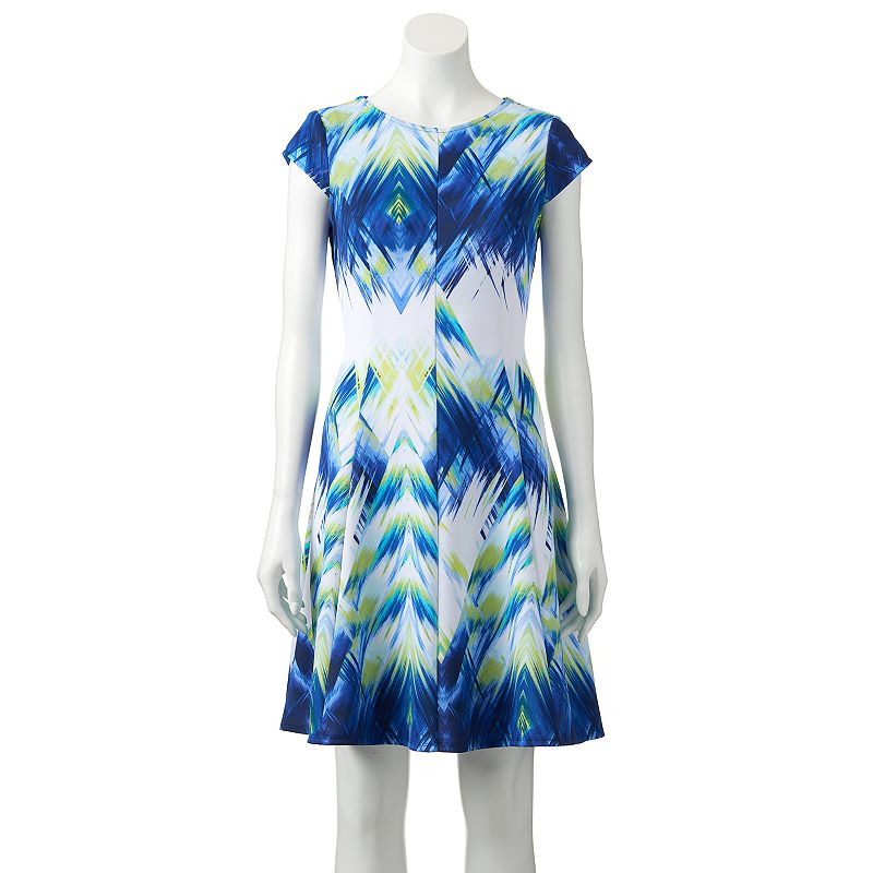 Women's Tiana B Abstract Scuba Fit & Flare Dress