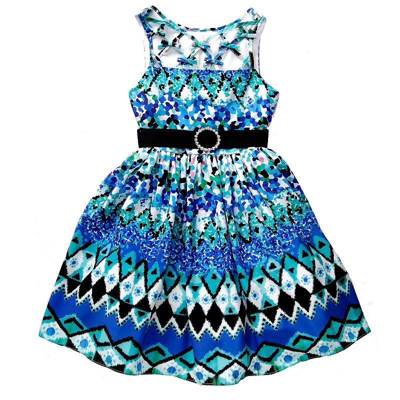 Girls 7-16 Emily West Lattice-Neck Bows Dress