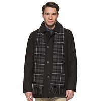 Dockers Wool-Blend Car Mens Coat with Plaid Scarf