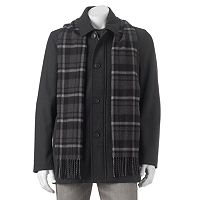 Dockers Mens Wool-Blend Car Coat with Scarf (Black or Charcoal)