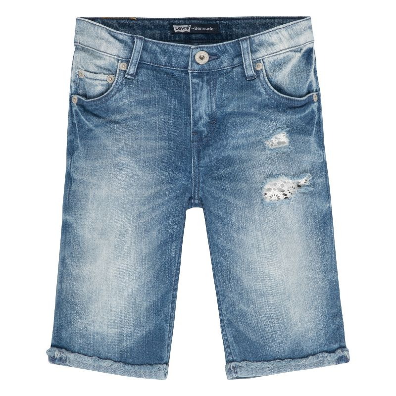 Girls 7-16 Levi's Summertime Ripped Denim Bermuda Shorts