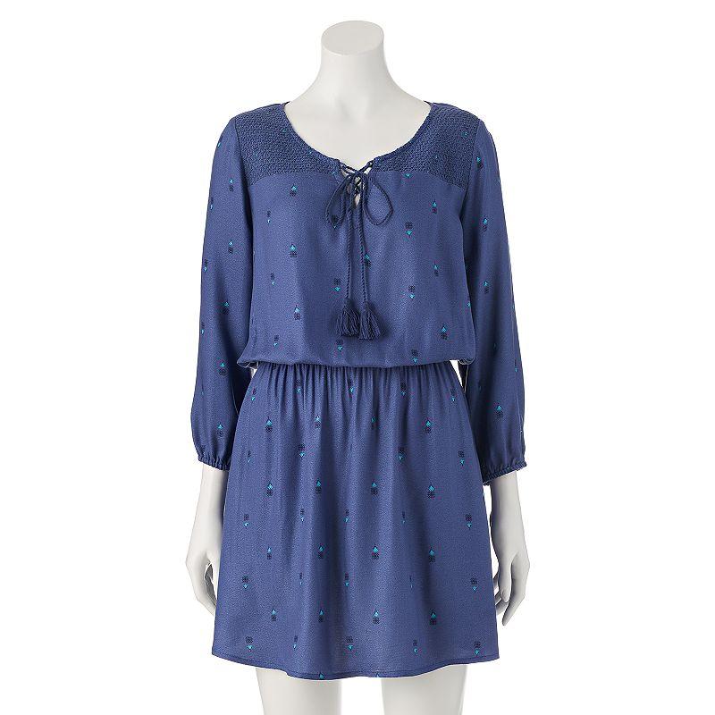Juniors' Mudd® Smocked Peasant Dress