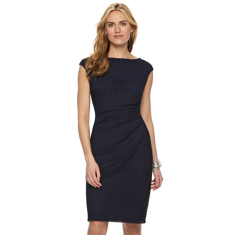 Women's Chaps Crochet Pleated Sheath Dress