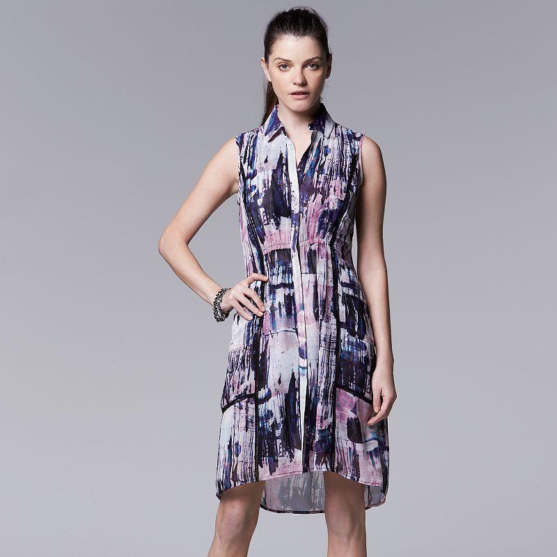 Petite Simply Vera Vera Wang Chiffon High-Low Shirtdress