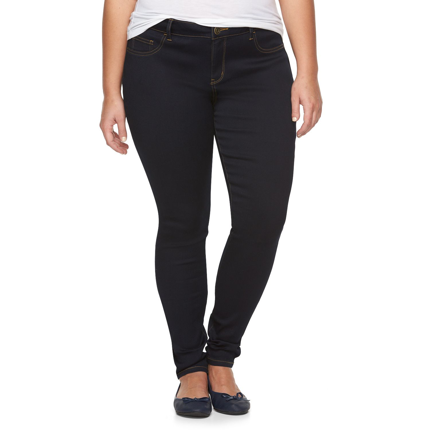 Juniors Plus Size SO? Embroidered Denim Jeggings