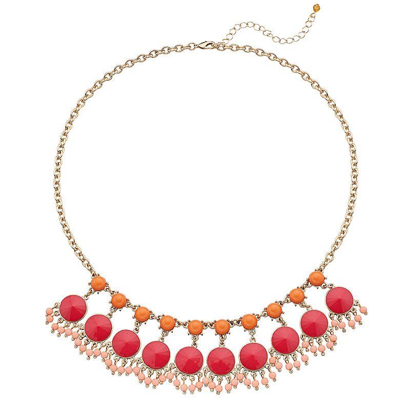 Beaded Pink & Orange Necklace