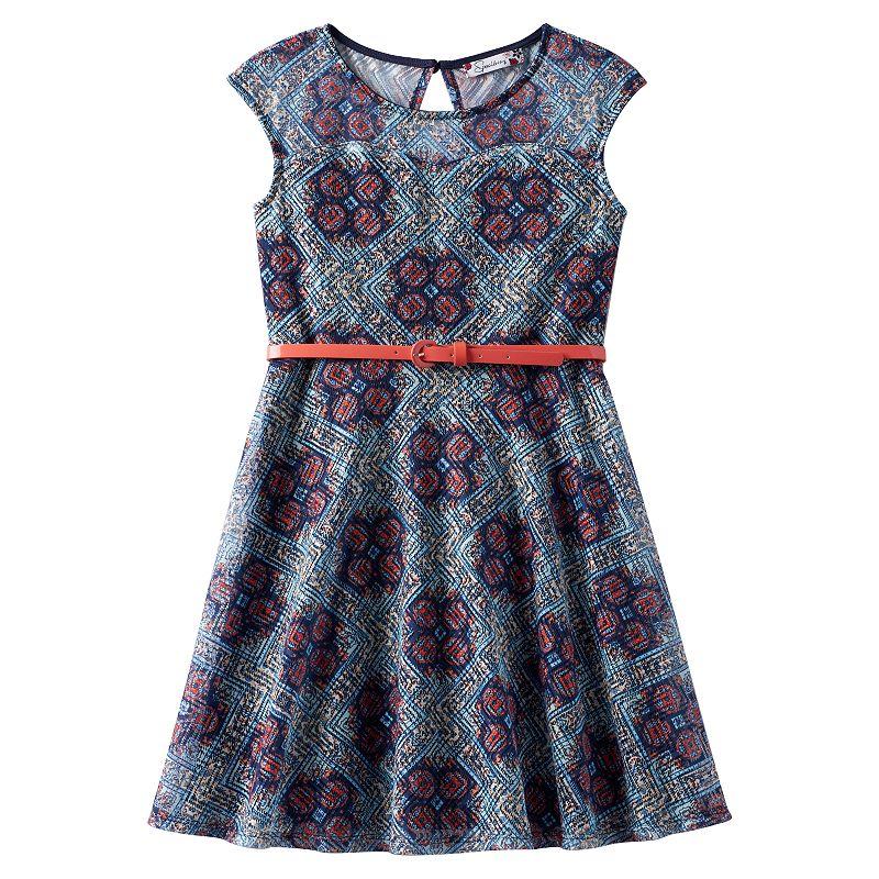Girls 7-16 Speechless Illusion Lace Skater Dress