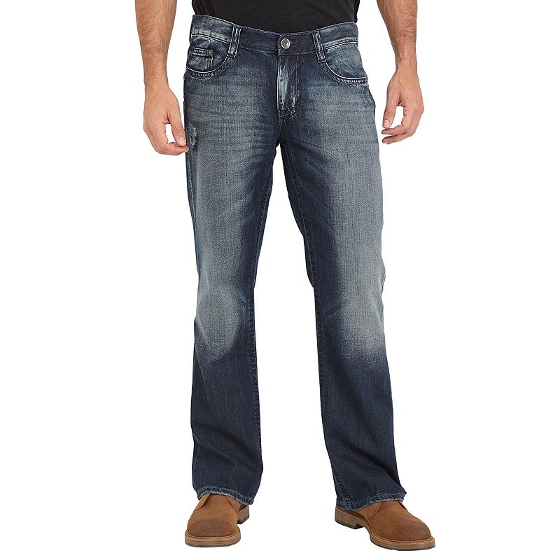 Men's Seven7 Toby Slim Boot-Leg Thick-Stitch Jeans, Size: 36X34, Blue Other