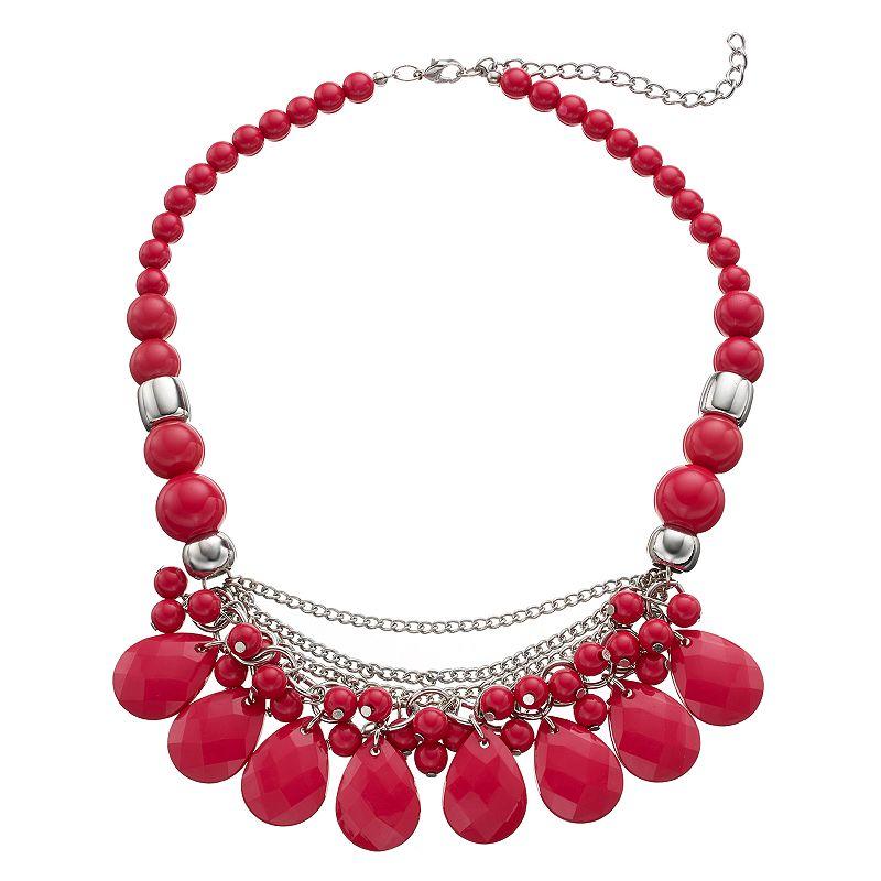 Pink Graduated Bead Teardrop Swag Necklace