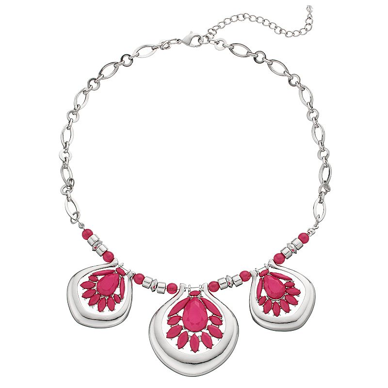 Pink Beaded Flower Necklace