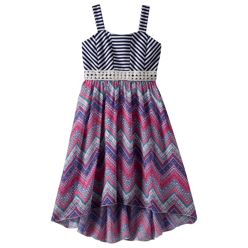 Girls 7-16 Speechless Striped Chevron High-Low Dress