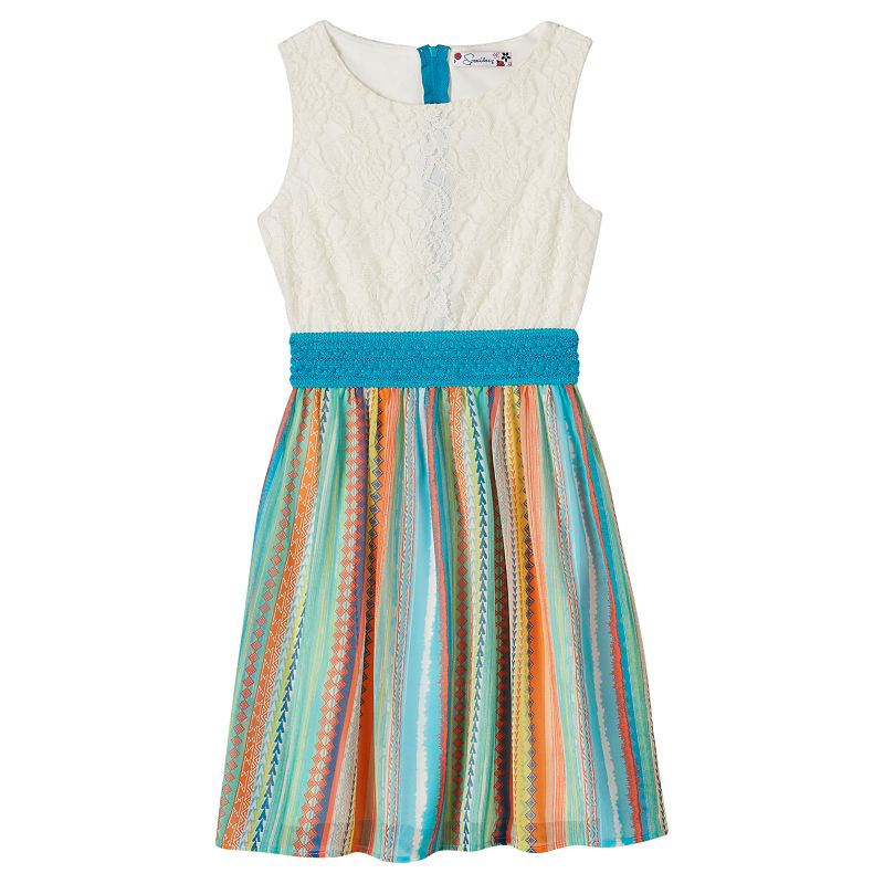 Girls 7-16 Speechless Lace & Stripe Dress